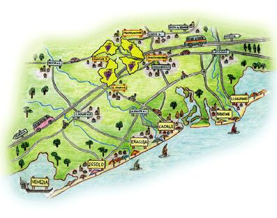 """mappa area DOC Lison Pramaggiore interessata dagli """"Itinerari Tematici"""""""