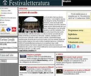 Informazioni on line, sito Internet Festivaletteratura Mantova 2009