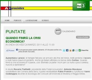 """Michele Mirabella conduce """"Apprescindere"""" su Rai 3, puntata del 24 marzo 2011, Homepage"""